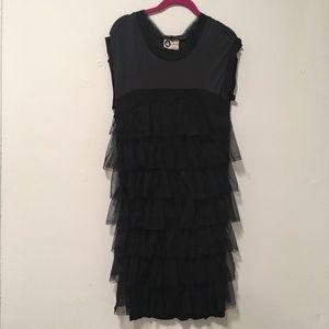 Lanvin Paris Black Grey Tutu Midi Straight Dress M
